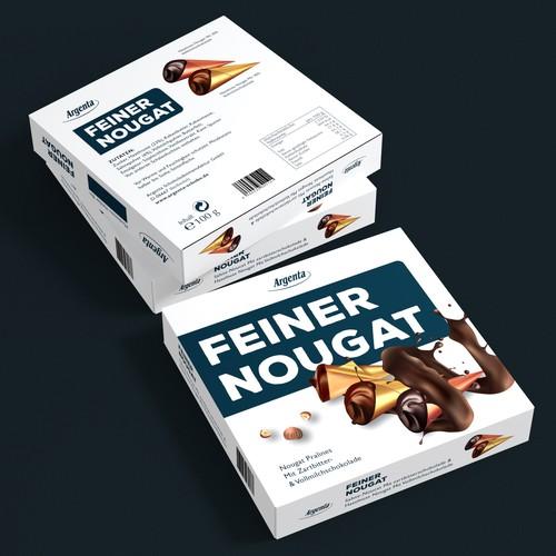 Box packaging with the title 'Erstelle ein aufregendes Verpackungsdesign für Pralinen'