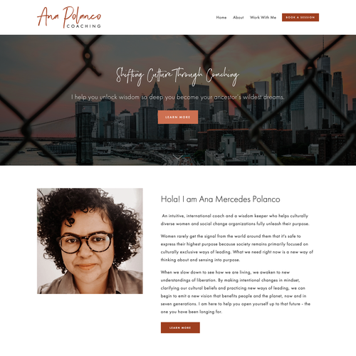 Branding website with the title 'Bold Squarespace Design for International Coach Ana Polanco'
