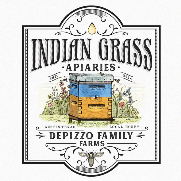 Beehive design with the title 'INDIAN GRASS APIARIES'