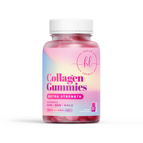 Nail design with the title 'Collagen Gummies'