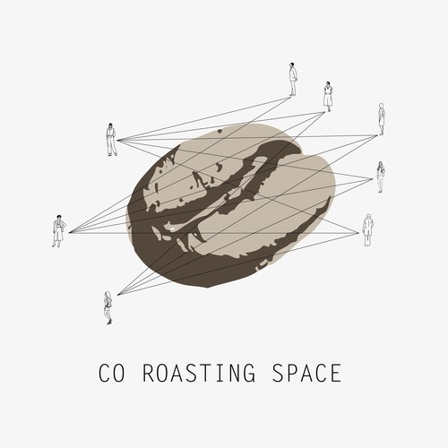 Human figure logo with the title 'Logo for Co-working/ coffee roasting space'