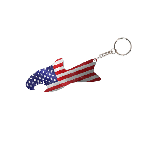 USA flag design with the title 'Fish-Shaped Bottle Opener with US Flag'