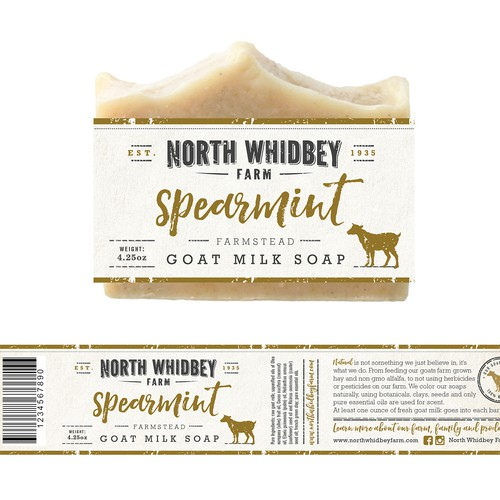 Organic packaging with the title 'natural soap company label'