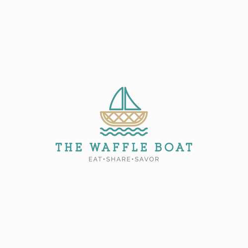 Pastel logo with the title 'The Waffle Boat'