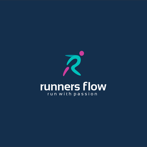 Running design with the title 'Runners Flow Logo Design'