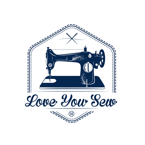 Machine brand with the title 'Love You Sew Logo and Brand Identity Design'