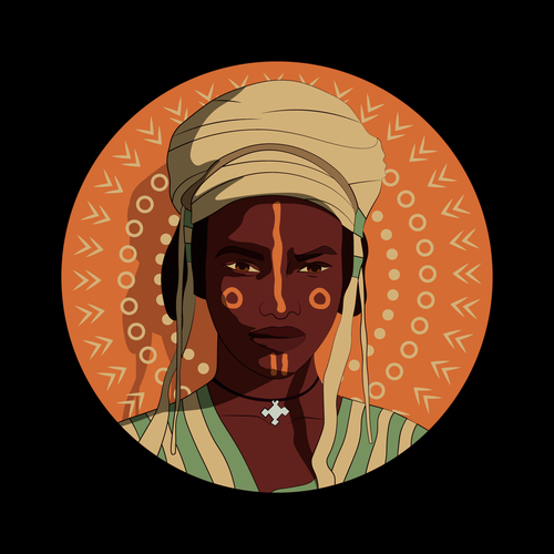 Face artwork with the title 'Fulani Tribe Woman Illustration'