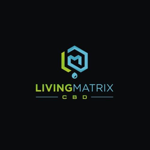 Hexagon design with the title 'Geometric Modern logo for Living Matrix CBD and cannabis oil '