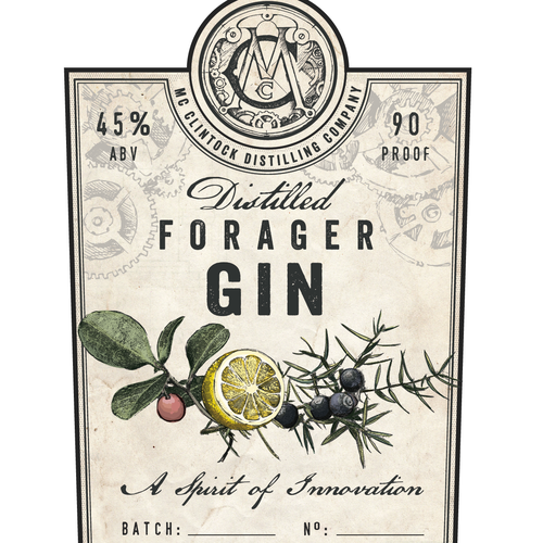 Brewery design with the title 'Gin label'