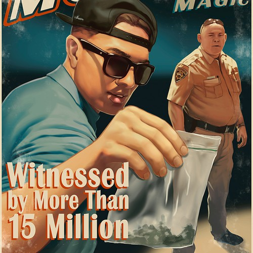 Artwork design with the title 'Vintage MAGIC POSTER- Magician tries to sell weed to cops'