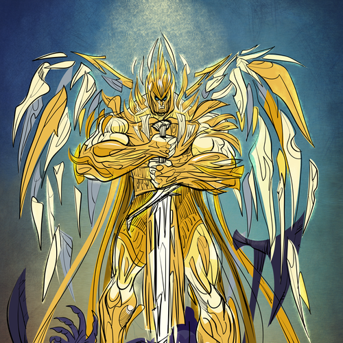 Stylish artwork with the title 'Concept for Angelic Warrior'