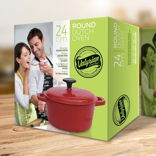 Cooking packaging with the title 'Create a capturing Retail and Logistics Boxes for Cast iron Cookware'