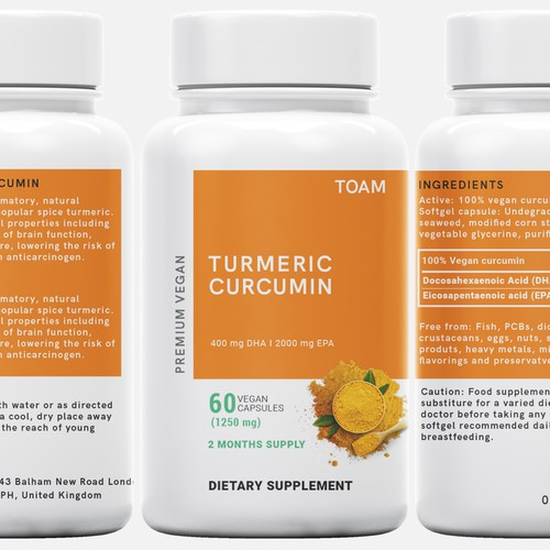 Ginger design with the title 'TOAM TURMERIC CURCUMIN'