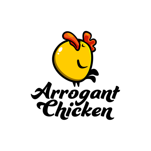Yellow logo with the title 'Arrogant Chicken'