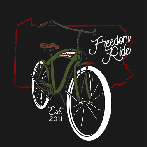 Bike t-shirt with the title 'freedom ride'