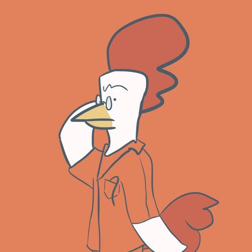 Orange illustration with the title 'Doctorrr Chicken'