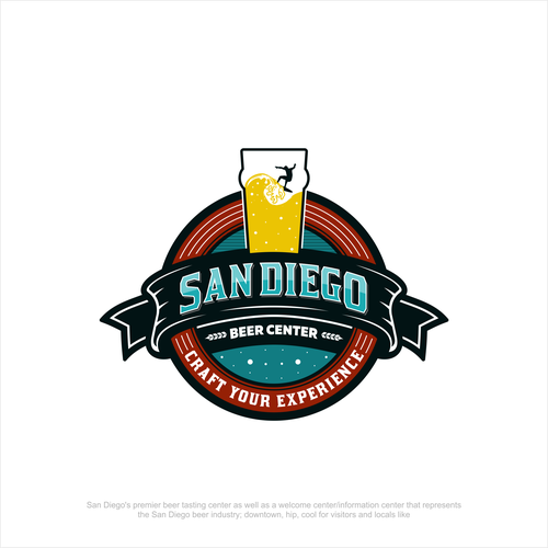 Surfing logo with the title 'Logo for San Diego Beer Center'