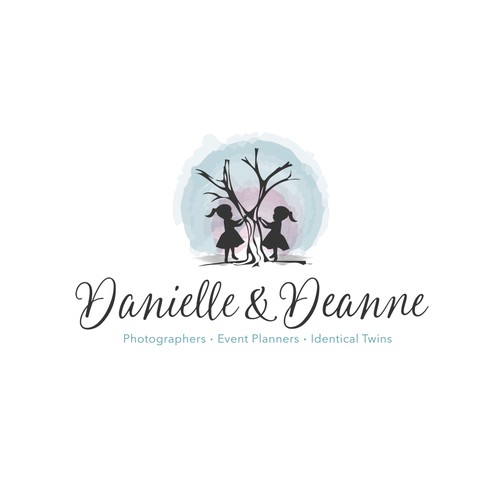Event planning logo with the title 'Identical Twins need playful, high-end Logo for Family Photography'
