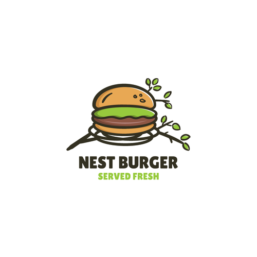 Burger brand with the title 'Bold logo for nest burger'