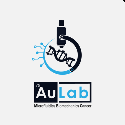 Microscope design with the title 'Au lab logo'