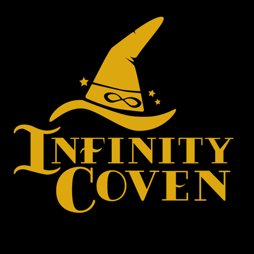 Witch logo with the title 'Infinity Coven'