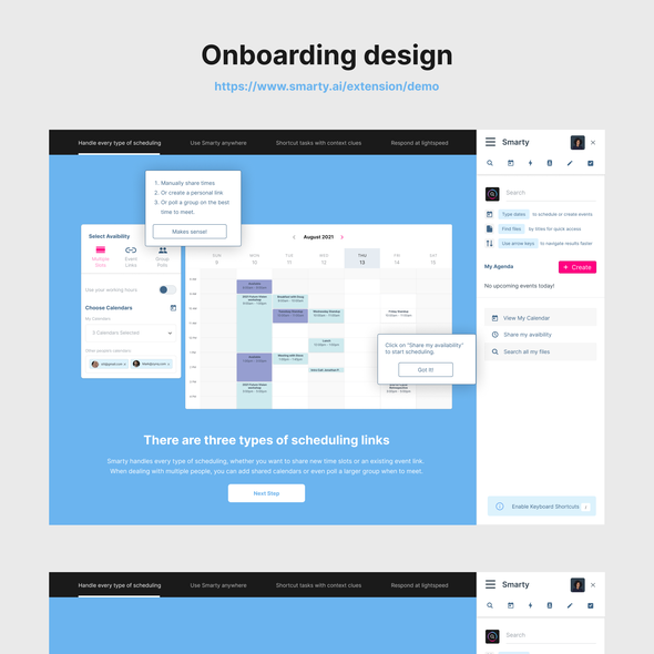 Adobe XD design with the title 'Onboarding app x Design and development'