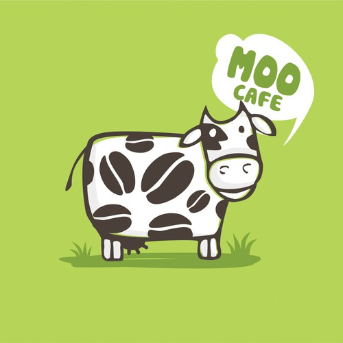 Cow logo with the title 'Cute logo for cafe'