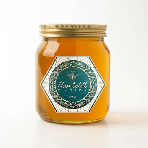 Honey label with the title 'Honey label design'