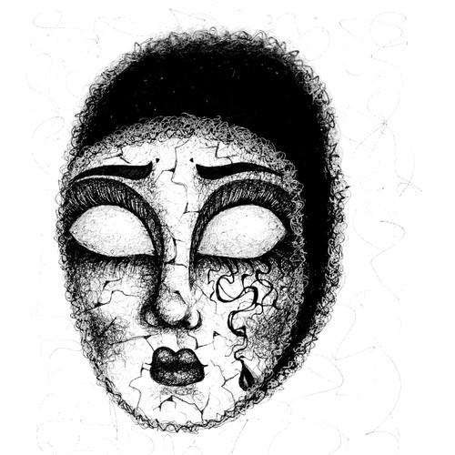 Grunge artwork with the title 'Mask Book Illustration'