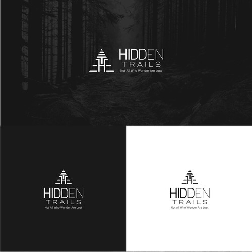 Camping design with the title 'Hidden Trails'