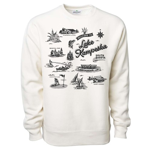 Halftone design with the title 'Lake Kampesta crewneck design'