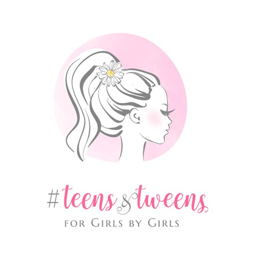 Girl design with the title 'fashionable logo for tweens and teens boutique'