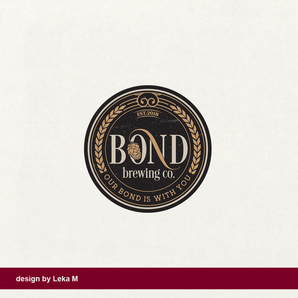 Shape design with the title 'Bond Brewing Co.'