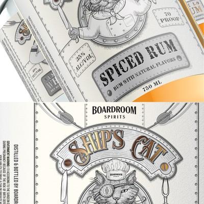 船的猫加香料朗姆酒标签。