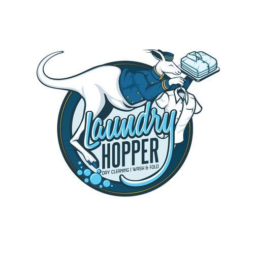 Vintage modern logo with the title 'Laundry Hopper'