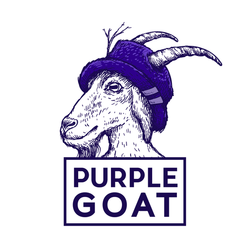 Purple and white logo with the title 'Purple Goat'