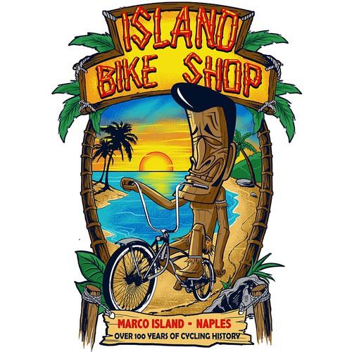 Sunset t-shirt with the title 'fun tiki beach for ISLAND BIKE SHOP'