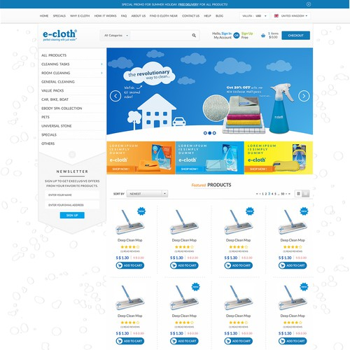 Cleaning website with the title 'Homepage Design for Cleaning Products Company'