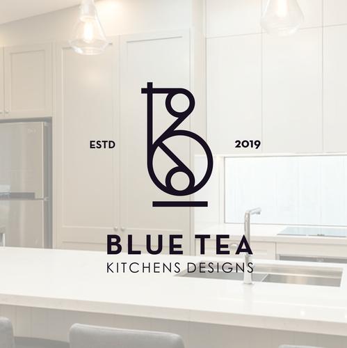 Toilet logo with the title 'Blue Tea kitchens & bathrooms Design'