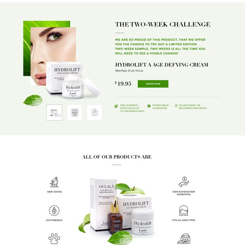 Graphic website with the title 'The Landing Page for a premium cosmetics brand.'