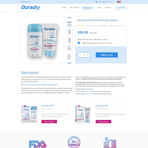 Product page design with the title 'Redesign a fun and clean website! :) Duradry.com'