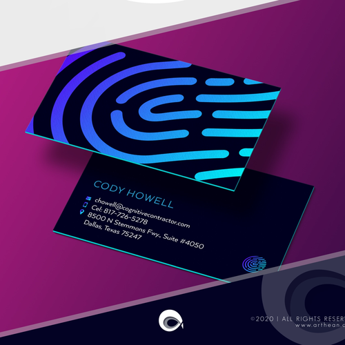 AI brand with the title 'Cool Business Card Design for Tech Company'