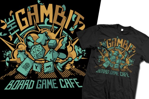 Board game design with the title 'Tabletop Gamer Tee !'
