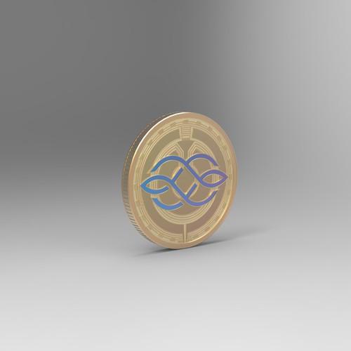 Bitcoin design with the title 'Crypto Coin 3D design'