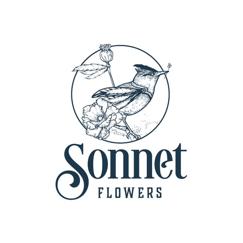 Blue logo with the title 'Logo for Sonnet Flowers'