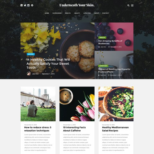 Lifestyle website with the title 'Home blog design entry for a health blog'