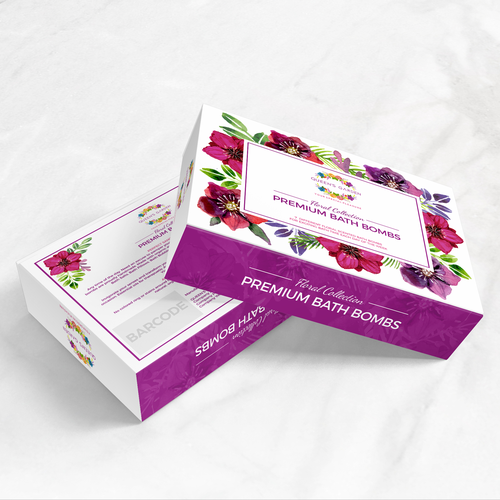 Bath bomb packaging with the title 'Luxurious floral packaging design for bath bombs collection'