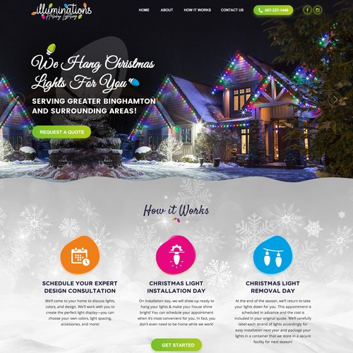 Creative website with the title 'Out of the box website for Professional Christmas Light display company'