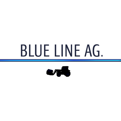 Tractor logo with the title 'Blue Line Sleek Logo'