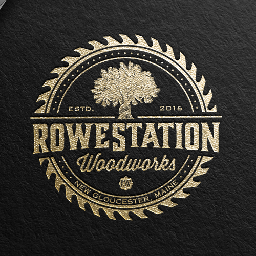 Woodworking design with the title 'ROWE STATION'